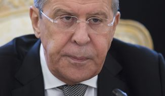 Russian Foreign Minister Sergey Lavrov meets with Secretary of State Rex Tillerson in Moscow, Russia, Wednesday, April 12, 2017. Russia's top diplomat accuses the U.S. of carrying out an unlawful attack against Syrian President Bashar Assad's forces as he opened a fraught meeting with Tillerson. (AP Photo/Ivan Sekretarev)