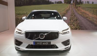 The Volvo XC60 is on display during a media preview at the New York International Auto Show, at the Jacob Javits Center in New York, Wednesday, April 12, 2017. (AP Photo/Mary Altaffer)