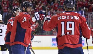 FILE- This Feb. 11, 2017 file photo shows Washington Capitals center Nicklas Backstrom (19), of Sweden, celebrating his goal with Alex Ovechkin (8), of Russia, during the first period of an NHL hockey game against the Anaheim Ducks in Washington. The Stanley Cup-hungry Washington Capitals open perhaps their last best chance to win it against the Maple Leafs at the start of their contending window. (AP Photo/Nick Wass)