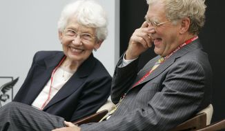 """FILE - In this Sept. 7, 2007, file photo, David Letterman, right, the host of """"The Late Show with David Letterman"""" on CBS, and his mother Dorothy Mengering share a laugh during the dedication of the $21 million David Letterman Communication and Media Building on the campus in Muncie, Ind. Mengering died Tuesday, April 11, 2017, his publicist Tom Keaney confirmed. She was 95. (AP Photo/Michael Conroy, File)"""