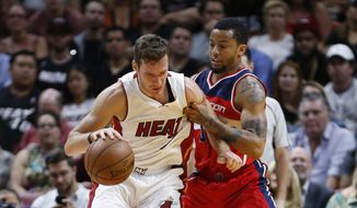 Miami Heat guard Goran Dragic (7) drives up against Washington Wizards guard Trey Burke (33) during the first half of an NBA basketball game, Wednesday, April 12, 2017, in Miami. (AP Photo/Wilfredo Lee)