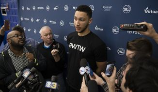 Philadelphia 76ers' Ben Simmons speaks with members of the media at the team's NBA basketball training facility in Camden, N.J., Thursday, April 13, 2017. The 76ers finished another season out of the playoffs.  (AP Photo/Matt Rourke)