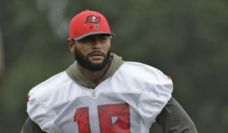 Tampa Bay Buccaneers' Louis Murphy during a Buccaneers NFL football training camp Sunday, Aug. 2, 2015, in Tampa, Fla. (AP Photo/Chris O'Meara)