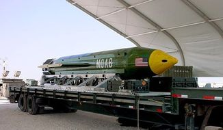 "This photo provided by Eglin Air Force Base shows the GBU-43/B Massive Ordnance Air Blast bomb. The Pentagon says U.S. forces in Afghanistan dropped the military's largest non-nuclear bomb on an Islamic State target in Afghanistan. A Pentagon spokesman said it was the first-ever combat use of the bomb, known as the GBU-43, which he said contains 11 tons of explosives. The Air Force calls it the Massive Ordnance Air Blast bomb. Based on the acronym, it has been nicknamed the ""Mother Of All Bombs."" (Eglin Air Force Base via AP)"