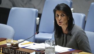 United Nations U.S. Ambassador Nikki Haley address the Security Council after a vote on a resolution condemning Syria's use of chemical weapons failed, in this Wednesday, April 12, 2017, file photo at U.N. headquarters. (AP Photo/Bebeto Matthews) ** FILE **