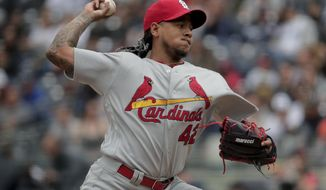 St. Louis Cardinals pitcher Carlos Martinez delivers against the New York Yankees during the first inning of a baseball game, Saturday, April 15, 2017, in New York. (AP Photo/Julie Jacobson)