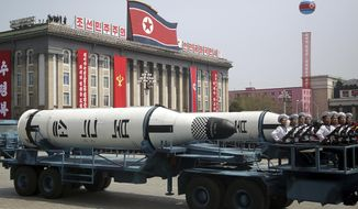 A submarine-launched ballistic missile is displayed in Kim Il Sung Square during a military parade on Saturday, April 15, 2017, in Pyongyang, North Korea to celebrate the 105th birth anniversary of Kim Il Sung, the country's late founder and grandfather of current ruler Kim Jong Un. (AP Photo/Wong Maye-E)