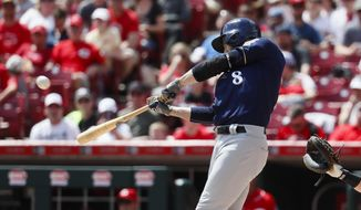 Milwaukee Brewers' Ryan Braun hits a two-run home run off Cincinnati Reds starting pitcher Sal Romano in the third inning of a baseball game, Sunday, April 16, 2017, in Cincinnati. (AP Photo/John Minchillo)