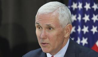 U.S. Vice President Mike Pence speaks during a dinner with soldiers and family members after Easter Sunday church services at a military base in Seoul, South Korea, Sunday, April 16, 2017. Pence arrived in South Korea on Sunday to begin a 10-day trip to Asia that comes amid turmoil on the Korean Peninsula over North Korea's threats to advance its nuclear and defense capabilities, and just after a failed missile launch by the North. (AP Photo/Lee Jin-man)