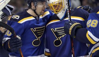 St. Louis Blues goalie Jake Allen, right, celebrates with Scottie Upshall after the Blues' 3-1 victory over the Minnesota Wild in Game 3 of an NHL hockey first-round playoff series, Sunday, April 16, 2017, in St. Louis. The Blues won 3-1. (AP Photo/Jeff Roberson)