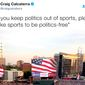 "NBC Sports writer Craig Calcaterra wrote on Sunday, April 16, 2017, that he did not want the American flag used at baseball games. ""Will you keep politics out of sports, please. We like sports to be politics-free,"" he Tweeted with a picture of a giant flag unfurled before a Major League Baseball game. (Twitter, Craig Calcaterra)"