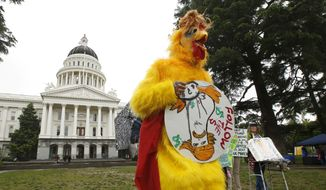"Dressed as the ""Real Chicken Don"" Shawn Frye joins others in calling for President Donald Trump to release his tax returns, Wednesday, April 12, 2017, at the Capitol in Sacramento, Calif. Tax March Sacramento activists are planning to join others in a protest on Tax Day, April 15  calling on the the president to release his tax returns. (AP Photo/Rich Pedroncelli)"