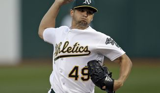 Oakland Athletics pitcher Kendall Graveman works against the Houston Astros during the first inning of a baseball game Friday, April 14, 2017, in Oakland, Calif. (AP Photo/Ben Margot)
