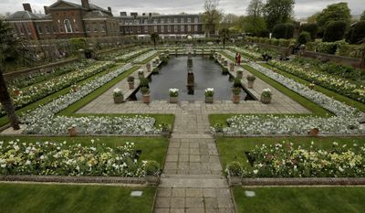 An overview shows The White Garden, a new memorial garden which marks 20 years since the death of Britain's Princess Diana, at Kensington Palace in London, Thursday, April 13, 2017. Kensington Palace was the home of Princess Diana for 15 years and is now a residence for her two sons Prince Harry and Prince William, with his wife Kate and their two children George and Charlotte. (AP Photo/Matt Dunham)
