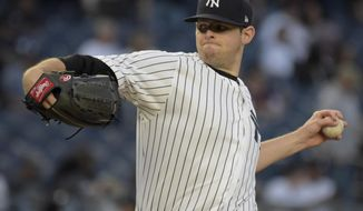 New York Yankees Jordan Montgomery deliver the ball to the Chicago White Sox during the first inning of a baseball game, Monday, April 17, 2017, at Yankee Stadium in New York. (AP Photo/Bill Kostroun)