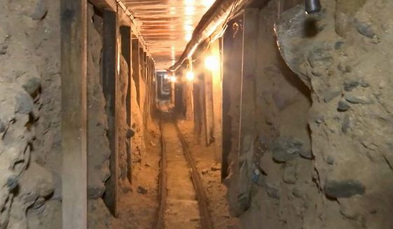 Two tunnels were found in December in an area of warehouses in the border city of Tijuana, Mexico, that led into California. The tunnels were apparently used by the Sinaloa drug cartel to move drugs into the United States. (Associated Press)