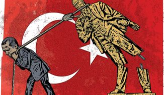 Illustration on Erdogan's impact on Turkey by Linas Garsys/The Washington Times