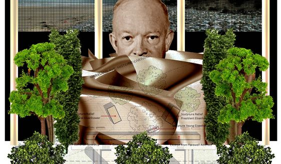 Illustration on the proposed Eisenhower Memorial by Alexander Hunter/The Washington Times