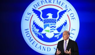 "Homeland Security Secretary John Kelly speaks during a forum ""Home & Away: Threats to America and the Department of Homeland Security response,"" Tuesday, April 18, 2017, at George Washington University in Washington. (AP Photo/Manuel Balce Ceneta)"