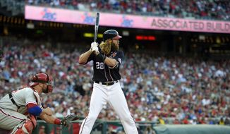 Washington Nationals' Jayson Werth (28) bats during a baseball game against the Philadelphia Phillies, Friday, April 14, 2017, in Washington. The Nationals won 3-2 in ten innings. (AP Photo/Nick Wass) ** FILE **