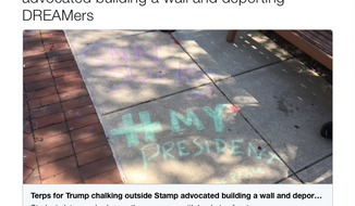 """A group called Terps for Trump is behind pro-Trump """"chalkings"""" on April 18, 2017 at the University of Maryland that were denounced by some students as """"hate speech."""" 