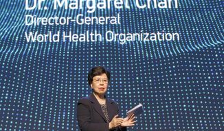 China's Margaret Chan, General Director of the World Health Organization, WHO, makes closing remarks during a panel on Neglected Tropical Diseases for the celebration of the fifth anniversary of the London Declaration on Neglected Tropical Diseases (NTDs), in Geneva, Switzerland, on Tuesday, April 18, 2017. (Salvatore Di Nolfi/Keystone via AP)