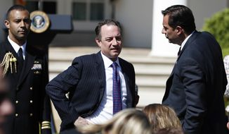 White House Chief of Staff Reince Priebus attends the public swearing-in ceremony for Justice Neil Gorsuch in the Rose Garden of the White House White House in Washington, Monday, April 10, 2017. (AP Photo/Carolyn Kaster)