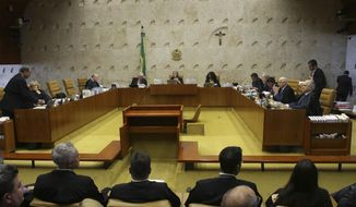 FILE - In this Dec. 7, 2016 file photo, the Brazilian Supreme Court meets in Brasilia, Brazil. After 30 years, Brazil's Supreme Court has finally decided the winner of the 1987 soccer league title. It's little-known club Sport Recife, which by a 3-1 vote by a five-member panel was declared the winner over Rio de Janeiro's Flamengo. (AP Photo/Eraldo Peres, File)
