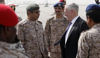 U.S. Defense Secretary James Mattis (R) is greeted by Saudi Armed Forces Chief of Joint Staff General Abdul Rahman Al Banyan (L) upon his arrival at King Salman Air Base, Riyadh, Saudi Arabia , Tuesday, April 18, 2017. (Jonathan Ernst/Pool photo via AP)