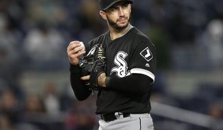 Chicago White Sox starting pitcher Miguel Gonzalez prepares to throw during the eighth inning of the team's baseball game against the New York Yankees at Yankee Stadium, Tuesday, April 18, 2017, in New York. (AP Photo/Seth Wenig)