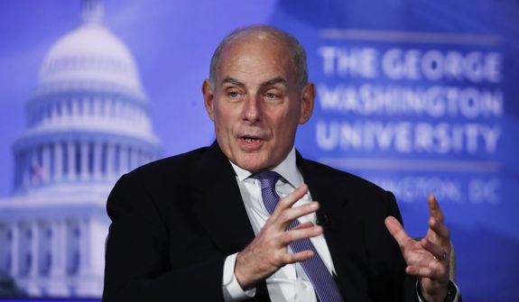 Department of Homeland Security Secretary John Kelly participates in a moderated discussion with Director of the Center for Cyber and Homeland Security Frank Cilluffo at George Washington University in Washington, Tuesday, April 18, 2017. (AP Photo/Manuel Balce Ceneta)