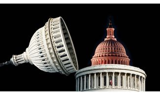 Illustration on a secret Congress within the Congress by Alexander Hunter/The Washington Times
