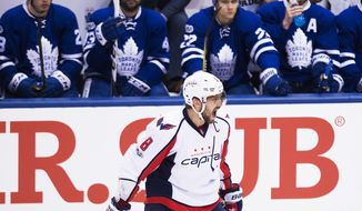 Washington Capitals left wing Alex Ovechkin (8) reacts after scoring against the Toronto Maple Leafs during first period NHL hockey round one playoff action in Toronto on Wednesday, April 19, 2017. (Nathan Denette/The Canadian Press via AP)