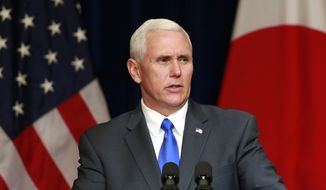 U.S. Vice President Mike Pence delivers a speech during a lecture for Japan-U.S. business leaders at a hotel in Tokyo, Wednesday, April 19, 2017. (AP Photo/Shizuo Kambayashi)