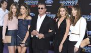 """Scarlet Rose Stallone, from left, Sistine Rose Stallone, Sylvester Stallone, Sophia Rose Stallone and Jennifer Flavin arrive at the world premiere of """"Guardians of the Galaxy Vol. 2"""" at the Dolby Theatre on Wednesday, April 19, 2017, in Los Angeles. (Photo by Jordan Strauss/Invision/AP)"""