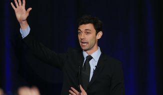Democratic candidate for Georgia's Sixth Congressional Seat Jon Ossoff speaks to supporters during an election-night watch party Tuesday, April 18, 2017, in Dunwoody, Ga. (AP Photo/John Bazemore)