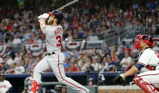Washington Nationals' Bryce Harper (34) watches his grand slam in front of Atlanta Braves catcher Anthony Recker (20) during the second inning of a baseball game Wednesday, April 19, 2017, in Atlanta. It was Harper's second homer of the game. (AP Photo/John Bazemore)