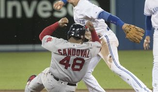 Boston Red Sox Pablo Sandoval is out at second base on the force out as Toronto Blue Jays Troy Tulowitzki turns the double play in the fifth inning of a baseball game Wednesday, April 19, 2017, in Toronto. (Fred Thornhill/The Canadian Press via AP)