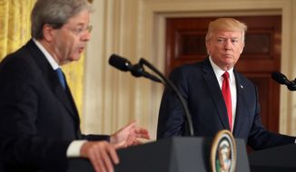 "President Donald Trump held a joint press conference with Italian Prime Minister Paolo Gentiloni on Thursday. Mr. Gentiloni urged Mr. Trump to play a bigger role in Libya after the defeat of the Islamic State. Mr. Trump disagreed saying, ""I don't see a role in Libya."" Later he said, ""I see that as a primary role, and that's what we're going to do, whether it's in Iraq or in Libya or anywhere else."" (Associated Press)"