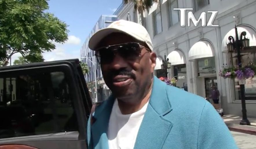 """""""Family Feud"""" host Steve Harvey said President Trump has been """"keeping his word"""" on promises he made during their controversial meeting in January. (TMZ)"""