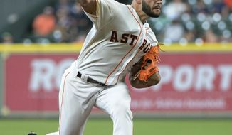 Houston Astros starter Lance McCullers Jr. pitches against the Los Angeles Angels in the first inning of a baseball game Thursday, April 20, 2017, in Houston. (AP Photo/George Bridges)