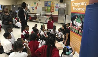 "New York Liberty forward Tina Charles, standing second from left, watches children learn about CPR on Wednesday, April 19, 2017, at Thurgood Marshall Academy Lower School in New York. Charles' foundation, Hopey's Heart, honors her aunt Maureen ""Hopey"" Vaz, who died of multiple organ failure in 2013. It also honors Wes Leonard, a high school basketball player in Michigan who died in 2011 of sudden cardiac arrest after hitting the game-winning shot for his team. (AP Photo/Doug Feinberg)"