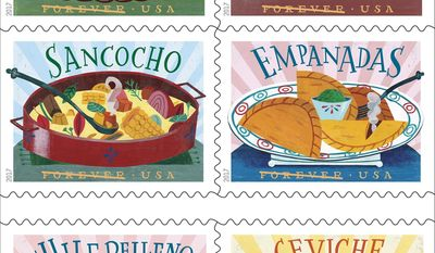 In this undated image provided by U.S. Postal Service shows six new stamps that The U.S. Postal Service is releasing. The tiny works of art are dedicated to the influence of Mexican, Central and South American and Caribbean foods and flavors on American cuisine. The dedication ceremony for the Delicioso Forever Stamps is being held Thursday, April 20, 2017 at the National Hispanic Cultural Center in Albuquerque, N.M. (U.S. Postal Service via AP)