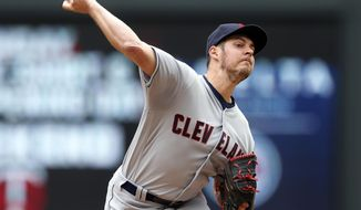 Cleveland Indians pitcher Trevor Bauer throws against the Minnesota Twins in the first inning of a baseball game Thursday, April 20, 2017, in Minneapolis. (AP Photo/Jim Mone)
