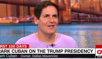 "Billionaire Mark Cuban called President Donald Trump ""chemotherapy"" for the political system on Friday, April 21, 2017. (CNN screenshot)"