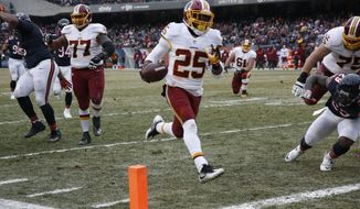 FILE - In this Dec. 24, 2016 file photo, Washington Redskins running back Chris Thompson (25) scores a touchdown against the Chicago Bears during the first half of an NFL football game in Chicago. The Redskins announced Friday, April 21, 2017, they have re-signed the restricted free agent. (AP Photo/Nam Y. Huh, File)