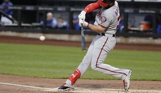 Washington Nationals' Bryce Harper (34) hits a home run during the first inning of a baseball game against the New York Mets, Friday, April 21, 2017, in New York. (AP Photo/Frank Franklin II)