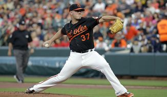 Baltimore Orioles starting pitcher Dylan Bundy throws to the Boston Red Sox during the first inning of a baseball game in Baltimore, Friday, April 21, 2017. (AP Photo/Patrick Semansky)