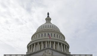 In this photo taken Feb. 28, 2017, a flag flies on Capitol Hill in Washington. Lawmakers return to Washington this week to a familiar quagmire on health care legislation and a budget deadline dramatized by the prospect of a protracted battle between President Donald Trump and congressional Democrats over his border wall.  (AP Photo/Susan Walsh)