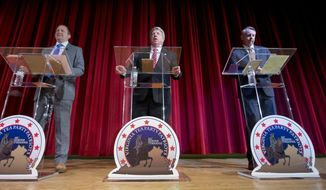 Republican gubernatorial candidates Corey Stewart (left), Frank Wagner (center) and Ed Gillespie face off in the primary on Tuesday. (Associated Press/File)